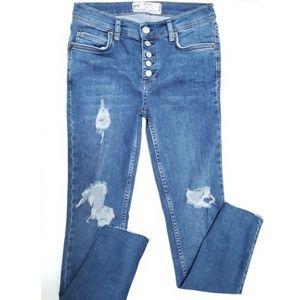 Free People | Distressed Raw Hem Jeans